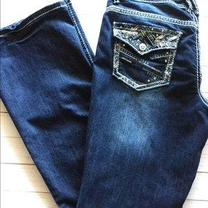 Sequin jewel embroidered jeans